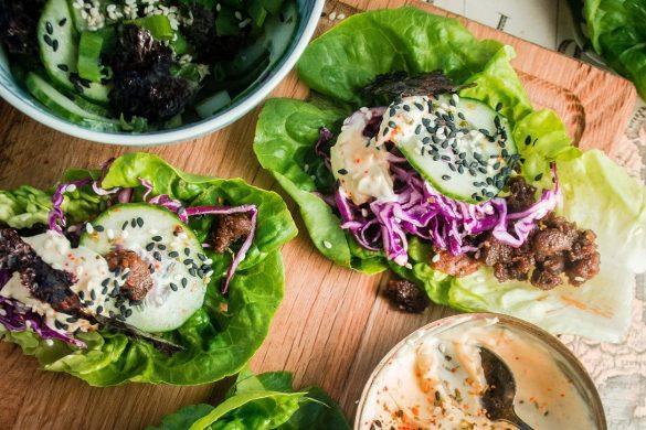 30 min: Teriyakihärkis-salaattiwrappöytä japanilaisittain (V)