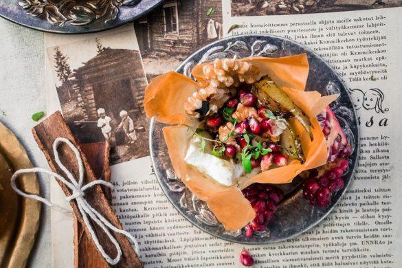 Briellä ja kanelipäärynöillä täytetyt filokupit