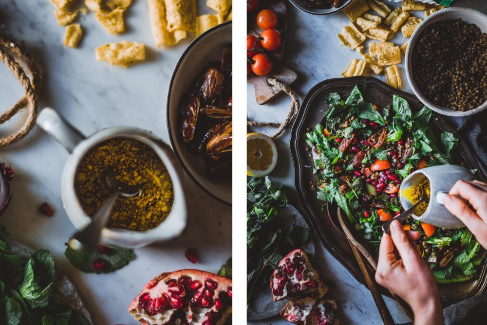 Linssi-Fattoush-salaatti. Vegaani. Gluteeniton