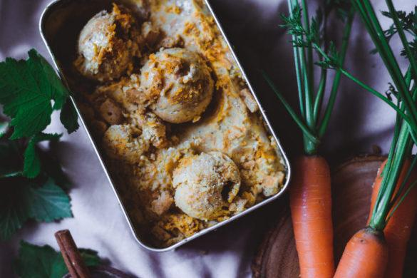 Porkkanakakkujäätelö. Vegaaninen