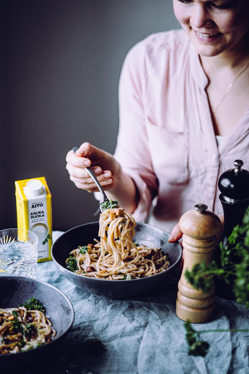 Vegaaninen pasta carbonara
