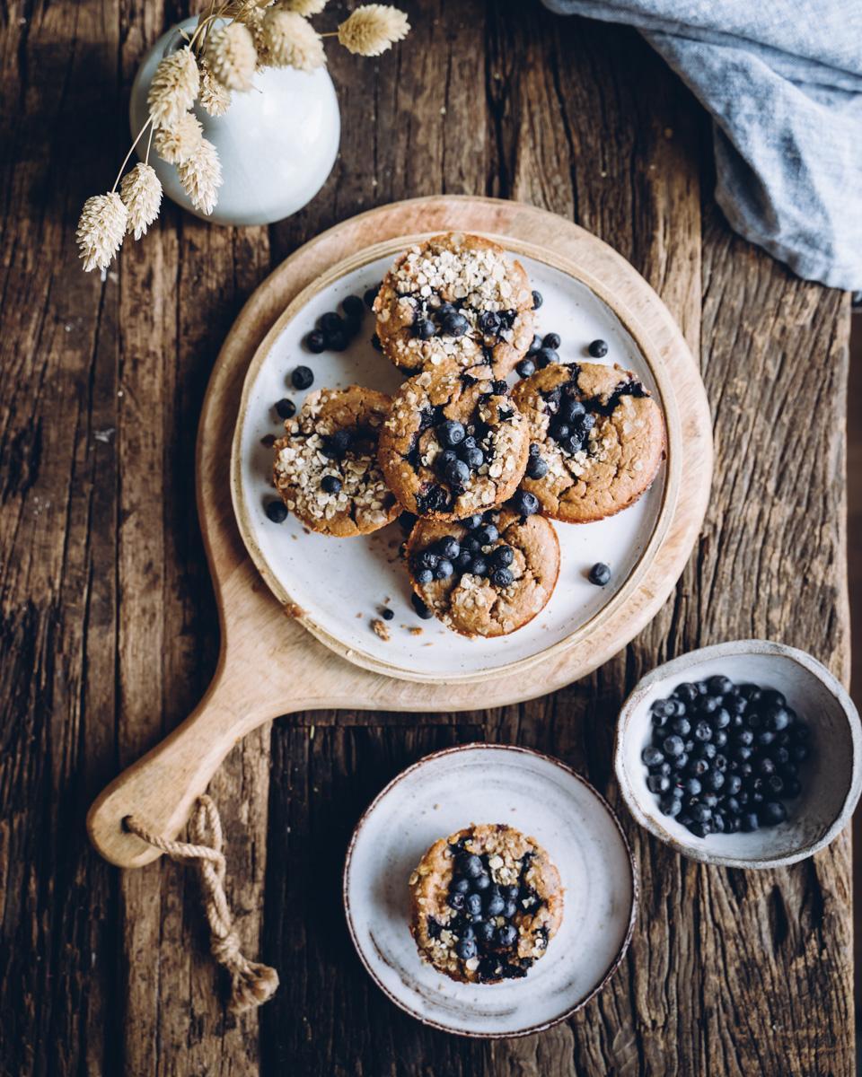 Proteiini-mustikkamuffinit